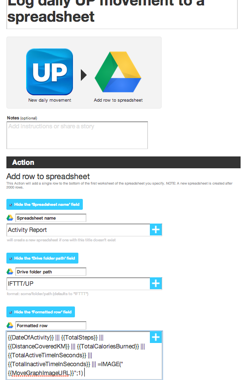 IFTTT: Jawbone to Google Spreadsheet