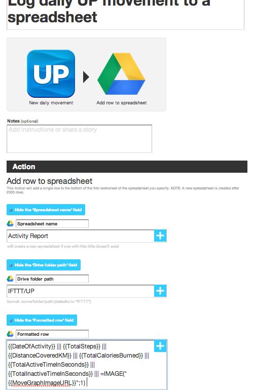 IFTTT: Jawbone to Google Spreadsheet