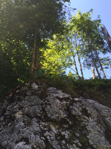 Die hohe Kletterfelsdichte führt bereits auf den ersten 500 Metern zu Zeitverzögerungen im zweistelligen Minutenbereich.