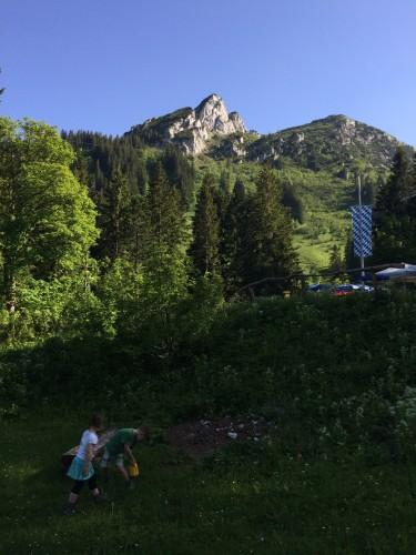 Der Buchstein, die Tegernsee Hütte und die Kinder (v.l.o.n.l.u.)
