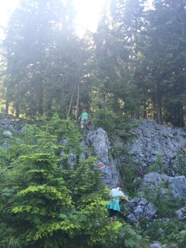 Hinter der Hütte: Noch mehr Kletterfelsen. Entspannte Eltern mit viel Grundvertrauen lassen die Kinder mal alleine rumgucken. Versicherung zahlt ja.