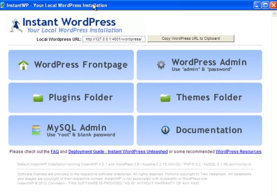 Instant WordPress Startseite