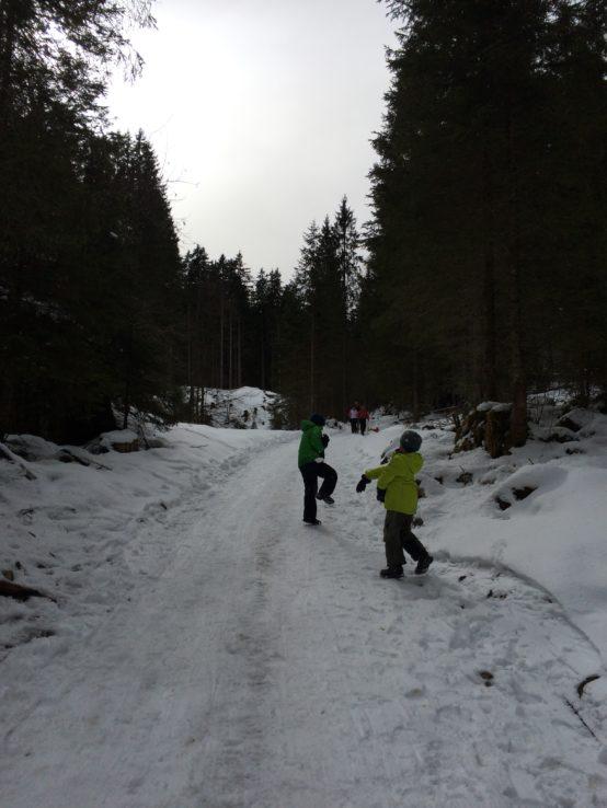 Die Jungs haben die ganzen 640 Höhenmeter lang Schneeballschlacht gemacht.